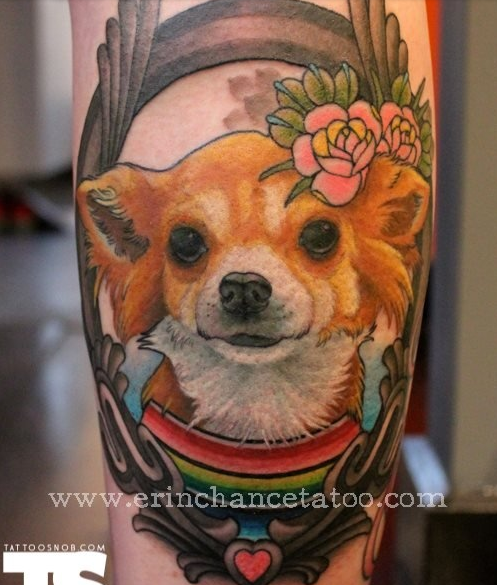 dog in frame with flowers tattoo